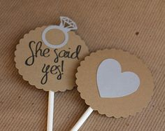 Wedding Engagement Cupcake Toppers by SweetCollieDesigns on Etsy Engagement Cupcakes, Engagement Party Favors, Engagement Celebration, Engagement Party Decorations, Bridal Shower Decorations, Wedding Engagement, Surprise Engagement Party, Engagement Parties, Bride Cupcakes