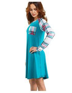 XINGONGCHENG Women's Long Sleeve Checkered Plaid Pockets Casual Swing T-Shirt Dress