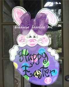 Happy Easter Bunny Door Hanger - Bronwyn Hanahan Original. via Etsy.