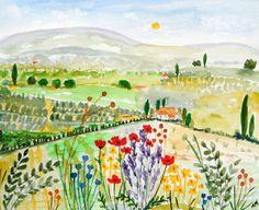 Original Watercolour Painting - GREEK LANDSCAPE: DREAMING OF GREECE | eBay