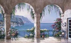"""""""Painted by Sung Kim, the Mediterranean Arch wallpaper mural features grand arches dripping with blooming flowers that frame a view of a Mediterranean seascape. Large Wall Murals, Mural Wall Art, Door Murals, Belle Image Nature, Pintura Colonial, Painting Prints, Art Prints, Paintings, Painting Walls"""