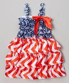 Look at this #zulilyfind! Royal Gem Red & Blue USA Flag Tiered Dress - Infant, Toddler & Girls by Royal Gem #zulilyfinds
