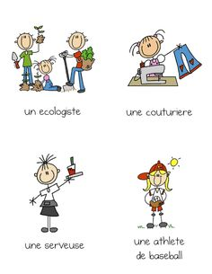BC Health and Careers Set of cards depicting careers (French), men and women, traditional and non-traditional. Make social studies discussions easier with visuals. Use for kindergarten community helpers unit. French Teaching Resources, Teaching Activities, Teaching French, Community Helpers Kindergarten, Kindergarten Science, French Education, French Classroom, Language Study, Teaching Social Studies