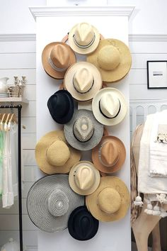18 Hat Organizing Ideas For Summer // closet & wardrobe storage // large wall wooden hat rack