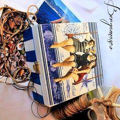 handmade box for the jewellery / / retro box / / Decoupage / / marine style