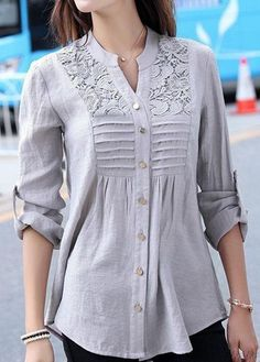 Grey long sleeve lace panel smock shirt grey button up lace panel curved shirt cheer shirts Trendy Tops For Women, Blouses For Women, T Shirts For Women, Kurta Designs, Blouse Designs, Minimalist Outfit, Sewing Clothes Women, Woman Clothing, Fall Outfits