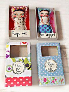 Match box pocket doll with a message, Lottie Popjes Art Matchbox, Matchbox Crafts, Paper Dolls, Art Dolls, Magic Crafts, Creative Box, Stationery Paper, Little Boxes, Felt Art