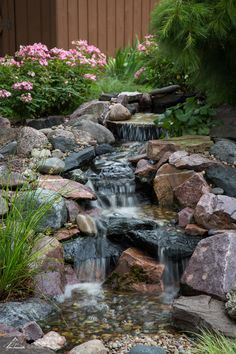 Fancy Backyard Stream And Waterfall and Pondless Waterfall Design & Construction. Fancy Backyard S Small Garden Waterfalls, Small Backyard Ponds, Backyard Stream, Backyard Water Feature, Small Garden Stream Ideas, Waterfall Design, Pond Waterfall, Diy Pondless Waterfall, Small Waterfall