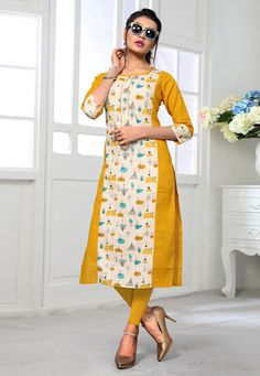 Yellow Color Printed Flax Cotton Latest Design Kurti Get this yellow color cotton printed kurti which is perfect for office. Cotton Kurties, White Cotton, Punjabi Dress Design, Printed Kurti Designs, Celebrity Gowns, Kurti Embroidery Design, Kurti Patterns, Kurta Designs Women, Ahmedabad
