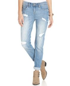 Dollhouse Juniors' Destroyed Boyfriend Jeans
