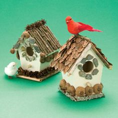 Go on a nature walk with the kids.. gather the materials and help them make their own birdhouse!
