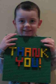 Thank you card for a Lego party