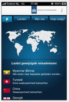 Reisadviesapp (min Buitenlandse Zaken): https://itunes.apple.com/nl/app/bzreisadvies/id534520540?mt=8=uo%3D4