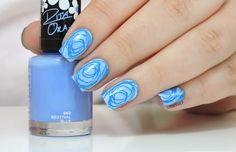 Jolis gribouillis ~ sponged nail art base with Rimmel 'Bestival Blue' and NYC 'Raindrop' stamped with Pueen plate 47 and Konad Blue polish ~ by Marine Loves Polish