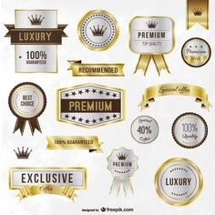 Luxury Golden Labels and Ribbons Free Vector