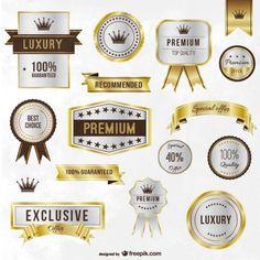 Luxo etiquetas douradas e fitas Vetor grátis