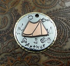 Tent Custom Dog ID Tag Let's Go Camping Key by IslandTopCustomTags, $35.00