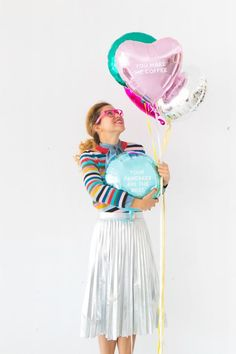 Balloon Poetry (Oh Happy Day! Glitter Balloons, Rainbow Balloons, Colourful Balloons, Mylar Balloons, Festa Party, Diy Party, Party Ideas, Love Balloon, Balloon Party