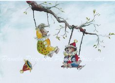 """11 x 14 Print  of Original Art Titled  """"Clowning Around"""" by Pamela Pricet is perfect to frame for nursery or child's room"""