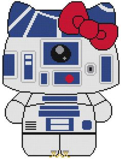 Cross-Stitch-PATTERN-COLOR-Hello-Kitty-Cat-Star-Wars-R2D2-Droid-Robot-Beep