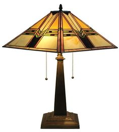 Amora Lighting Tiffany Style Mission Stained Glass Table Lamp