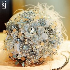 Broach bouquet. Sold. Just with rose colored stuff instead of gold or silver