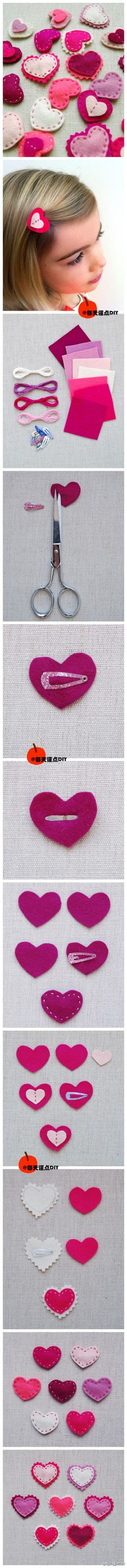 Felt heart hair clips - cute photo tutorial for easy clips - linked to Spanish Pinterest