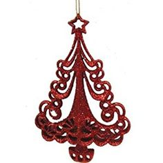 fall sparkle tree ornaments | Amazon.com: Red Glitter Christmas Tree Ornament: Toys & Games