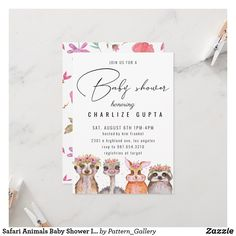 Safari Animals Baby Shower Invitation Safari Animals, Baby Animals, Rustic Invitations, Wedding Invitation Cards, Baby Shower Invitations For Boys, Create Your Own Invitations, Text Style, Woodland Baby, For Your Party
