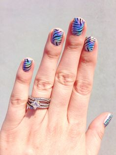 Zebra stamped over holographic nail polish!!!