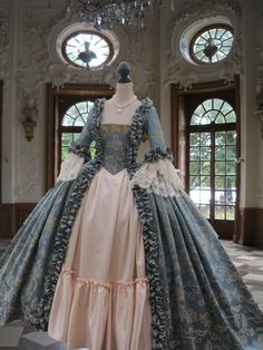 Colonial Georgian 18th c Marie Antoinette Day Court gown.