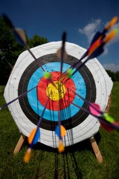 An archery target with interesting use of colours.