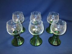 Set 6 German Bohemian Hollow Green Roemer Wine Glass Goblets w/ Ribbed Stems