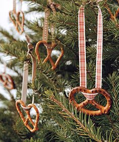 You could bake and decorate some of those dough tree ornaments. Or you could open a bag of loopy pretzels and hang some from branches with colorful ribbon. Six of one....