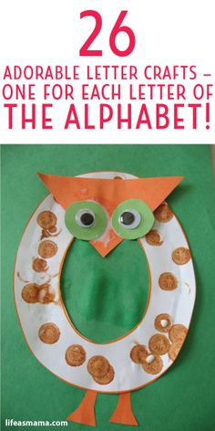 Adorable Letter Crafts - One For Each Letter Of The Alphabet! 26 Adorable Letter Crafts- One For Each Letter Of The Alphabet!For For or FOR may refer to: Kids Crafts, Abc Crafts, Preschool Projects, Alphabet Crafts, Preschool Letters, Alphabet Art, Daycare Crafts, Learning The Alphabet, Alphabet Activities