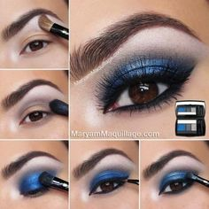 Amazing Chic Summer Eye Makeup Trends To Give You A Flawless Summer Face NiceStyles Blue Smokey Eye Amazing Chic Eye Face Flawless Give Makeup NiceStyles Summer Trends Eye Makeup Blue, Summer Eye Makeup, Mac Makeup, Makeup For Brown Eyes, Makeup Tips, Blue Eyeshadow For Brown Eyes, Makeup Eyeshadow, Lancome Eyeshadow, Smokey Eyeshadow