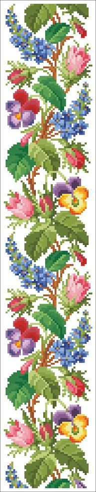 Berlin Woolwork Floral Border Bell Pull Vintage Design Cross Stitch PDF Pattern