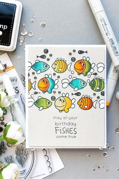May all your Birthday fishes come true! Handmade Birthday card using Best Fishes stamp set from Simon Says Stamp.
