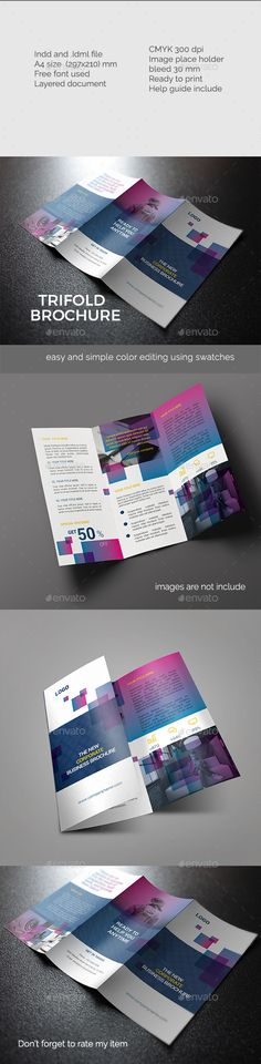 Elegant Trifold Brochure Template InDesign INDD. Download here: http://graphicriver.net/item/elegant-trifold-brochure-/15305148?ref=ksioks