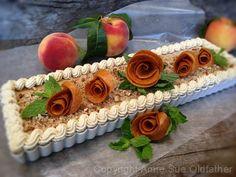 Pecan Peach and Caramel Ginger Ice Cream Tart