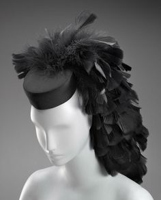 Cristóbal Balenciaga satin hat with black feathers, French, early 1960s.