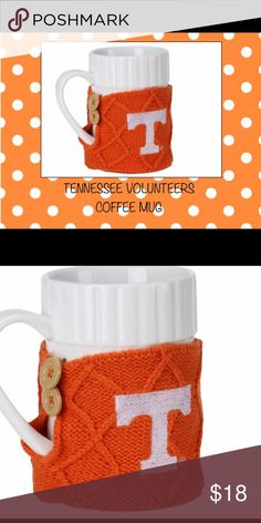 TENNESSEE VOLUNTEERS SNUGGLE COFFEE MUG How many ways can we celebrate our Tennessee Volunteers dedication?  Why not first thing in the morning!  Fun and sassy officially licensed white ceramic mug with 2-button cozy sweater that is removable.  New in box.  Bold TN Vols graphics.  Holds approximately 16 oz.  No trades.  Happy shopping🎀 Other