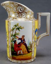 Meissen Hand Painted Courting Couple Floral Yellow & Gilt Creamer C. 1860 - 1924