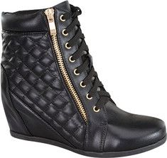 Wild Diva Gladys-25 Wedge Bootie - Black Faux Leather with FREE Shipping & Returns. The Gladys-25 has a lace-up front with metallic eyelets, a diamond quilted