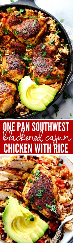An amazing one pan meal with tender and juicy cajun blackened chicken over delicious southwest rice! This meal became an instant favorite at our house!