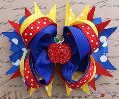 Snow White Hair Bow Blue Yellow Red Apple Rhinestone Center