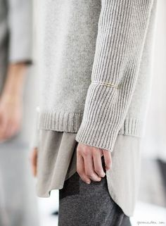 Steven Alan F/W 2014, grey sweater, gold bracelet, grey shirt / Garance Doré