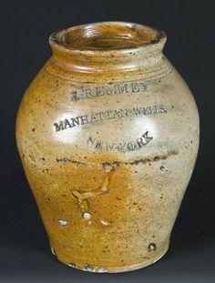 J. REMMEY / MANHATTAN-WELLS / NEW-YORK Stoneware Incised Jar
