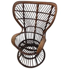 """Italian """"Carlo Mollino"""" Polaroid Wicker Armchair by Lio Carminati   From a unique collection of antique and modern armchairs at https://www.1stdibs.com/furniture/seating/armchairs/"""