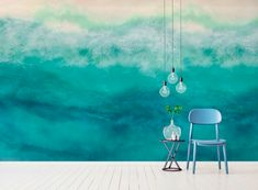 Catch Me In The Caymans Abstract Sea Wallpaper Mural by Melissa Renee fieryfordeepblue Art & Design seen at Creator's Studio, Helsinki | Wescover Accent Wallpaper, More Wallpaper, Creator Studio, Wall Installation, New Artists, Helsinki, Designer Wallpaper, How To Draw Hands, Graphic Design